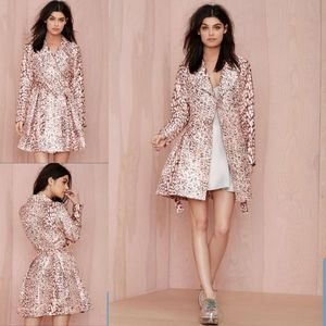 Nasty Gal on the Prowl pink Leopard Trench Coat